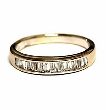 18k white gold .30ct SI2 H baguette diamond wedding band ring 3.2g estate ladies
