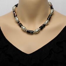 Sterling Silver & Onyx Bead Necklace With Matching Earrings