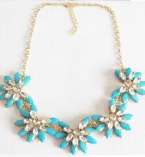 Elegante Moda Flor Azul Gema Con Diamante Collar
