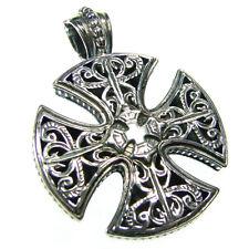 Gerochristo 5417 ~ Sterling Silver Medieval Maltese Cross Pendant