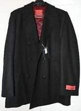 Jean Paul Germain Men's Double Brearst Wool Blend Pea Coat BLACK -Small