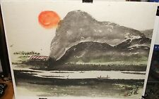 CHINESE RIVER BOATS ORANGE SUN LANDSCAPE ORIGINAL WATERCOLOR PAINTING SIGNED