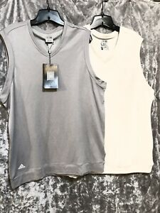 NWT Lot Of 2 Adidas Mens Relaxed Shirts Sleeveless Jersey Gray/Beige XL