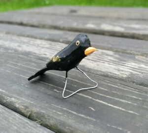 SMALL FOLK BIRD – BLACKBIRD Polish Folk Art from Stryszawa Beskidy
