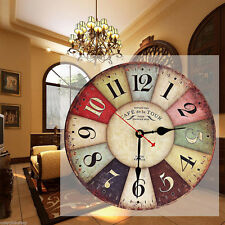 Vintage Wooden Wall Clock Shabby Chic Rustic Retro Kitchen Home Antique Decor TH