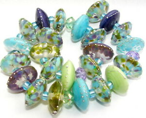 "Sistersbeads ""P-Twilight"" Handmade Lampwork Beads"
