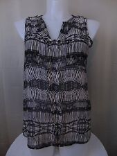 Femme by Tresics Sleeveless Button Front Top White & Black Geo Print 1X #907