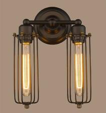 2 Head Modern Vintage Retro Industrial Rustic Sconce Cage Wall Light Lamp