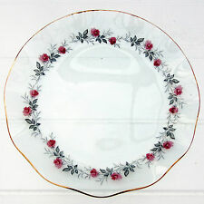 Vintage Retro Chance Glass Serving Plate Dish Pink Roses