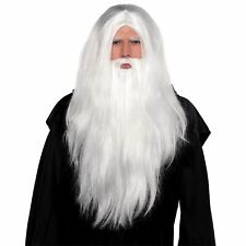 Luxury White Wizard Wig & Beard Set Fancy Dress Halloween Costume Accessory