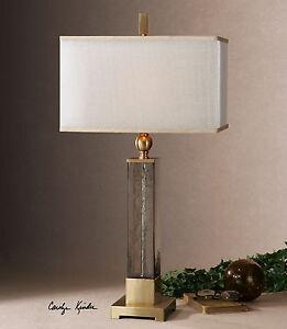 "CAECILIA MODERN XXL 33"" TEXTURED LIGHT AMBER GLASS TABLE BUFFET LAMP UTTERMOST"