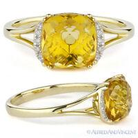2.45ct Cushion Cut Citrine & Round Cut Diamond 14k Yellow Gold Engagement Ring