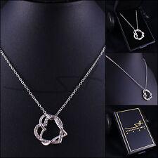 Geschenk: Kette Halskette *Herz um Herz*, Weißgold pl., Swarovski Elements +Etui