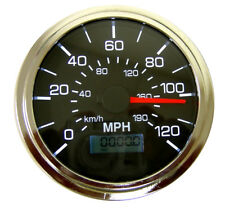 "Speedometer, programmable, 3-3/8""/86mm,120 MPH,LED light,black/chrome,001-SP-BC"