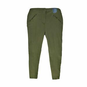 Women Ex M&S Khaki Skinny Zip Pocket Cargo Regular Length Trouser Curves 20-22