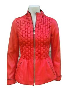 AMIR KHAN RED QUILTED LEATHER JACKET .. Size S fits UK 8