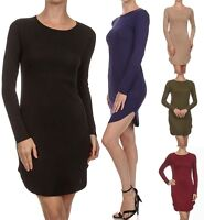 Women Scoop Neck Classic Hi-Low Long Tunic LONG Sleeve Jersey Top Shirt Dress