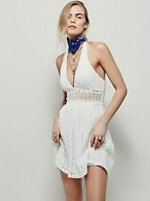Free People So Sweetly Dress Halter Mini Crochet Cotton Size 8 White SEXY $168
