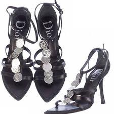 Dior print Logo RARE Silver Coin Black Leather Sandals High Heels 39.5 9.5
