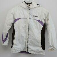 Columbia Women Sz L Hooded Jacket Purple White Waterproof Retro Coat