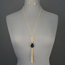 Long Gold Chain Filigree Black Druzy Like Tassel Pendant Necklace With Earrings