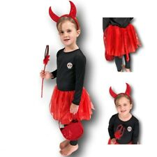 Girls Cute Red Devil Halloween Fancy Dress Toddler Childs Costume Outfit 3-5yr