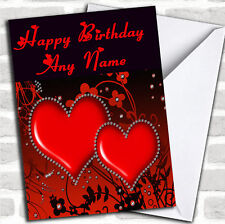 Red Diamond Heart Romantic Birthday Customised Card