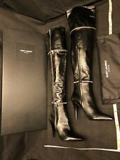 SAINT LAURENT YSL Black Leather Fetish 105 Zip Over The Knee OTK Boots 41, 11