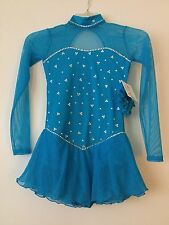 New listing Icings New TURQUOISE COMPETITION ICE ROLLER SKATING DANCE BATON DRESS