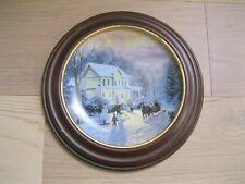 Knowles Thomas Kinkade Sleighride Home Collectable Plate, Van Hygan Smythe Frame