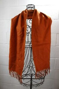 "HERMES Authentic Orange Fringe 100% Cashmere Embroidered Scarf 70"" X 12.5"""