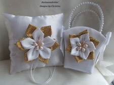 Wedding Ring Bearer Pillow and Flower Girl Basket Handmade White and Gold Flower