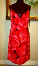NEW A.B.S. ALLEN SCHWARTZ SZ L RED ROSE/PINK/BURGUNDY SPAGHETTI STRAP POLY DRESS
