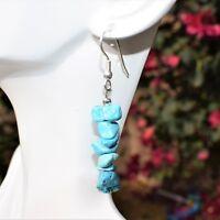 CHARGED Arizona Turquoise Crystal Chip Earrings  REIKI Energy! ZENERGY GEMS™