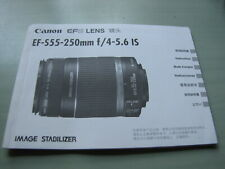 Canon Book Ef-S55mm-250mm f/4-5.6 Is Lens User's Manual Guide Book
