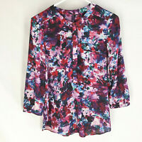 NYDJ Womens Henley Popover Shirt Size XS Button Front Top Blouse Floral