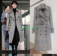 Chic Women's double-breasted Slim Fit Jacket Trench Wool Coat Parka Overcoat New