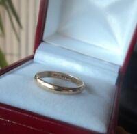 Vintage 9ct Yellow Gold Wedding Band Ring h/m 1985 Sheffield  -  size J