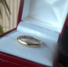 Vintage 9ct Yellow Gold Wedding Band Ring h/m 1985 Sheffield  -  size J
