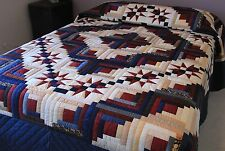 New Amish Handmade Quilt Patchwork from Lancaster Pa. Log Cabin Stars 102x114