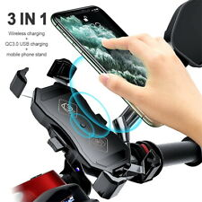 3in1 Motorcycle Phone Holder Wireless Charger Stand 360 Degree Rotation Bracket