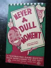 Vtg 1946 Leister Game Company Never A Dull Moment Party Game Quizzes Ad Slogans
