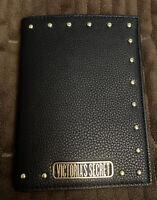 VICTORIA'S SECRET STUDDED BLACK PASSPORT CASE/CREDIT CARD HOLDER NWT