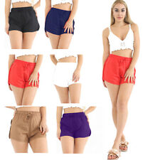Women Ladies Viscose Linen Blend Casual Shorts Perfect for Summer Short Length