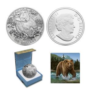2014 $100 CANADA The Grizzly Bear, FINE .9999 SILVER COIN (OGP/COA)