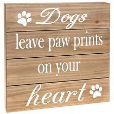 DOG lasciare Paw Stampe per il tuo cuore in legno grande sentimento targa sul muro 61874