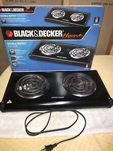 Black & Decker Electric Double Burner Buffet Range 1500 Watt VGUC
