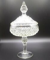 EAPG Indiana Glass Tiara Diamond Point Chalice Lidded Compote Stemmed Candy Dish