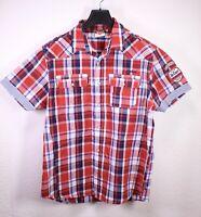HB119 Lee Cooper Herren Hemd Shirt rot blau kariert Gr. L Kurzarm sportiv