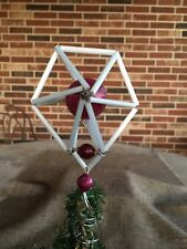"Vintage Czech Beaded Mercury Glass Star Topper,Dark Pink and White, Mini 5"" Tall"